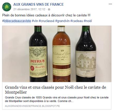 Facebook - Aux Grands Vins de France
