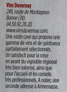Le point Special Vin - Duvernay